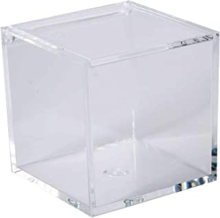 Clear Lucite Plastic Storage Box with Hinged Lid-Acrylic Boxes For Wedding, Party Favor, Treats, Candy Mini Gifts, Sewing Set, Cosmetic Organizer 2.36''x2.36''x2.36'' (6 Pack)