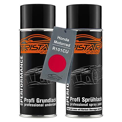 TRISTARcolor Motorradlack Spraydosen Set für Honda Motorrad R101CU Candy Glory Red Metallic Grundlack Basislack Sprühdose 400ml