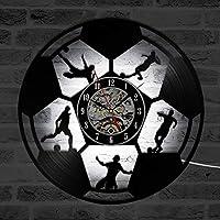 ganjue Balón De Fútbol Led Reloj De Pared De Diseño Moderno para La Habitación De Los Niños Relojes ClásicosEstilo Antiguo Disco De Vinilo Reloj De Pared Decoración para El HogarC10103