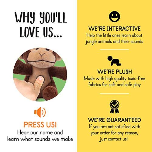 Plush Creations Plush Jungle Animals Toy Set, Includes 4 Talking Soft Safari Animals A Plush Elephant Plush Monkey Plush Giraffe Plush Tiger With A Plush Jungle House Carrier Great For Boys And Girls