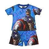 Towel Rings Pijama Niño Verano,Camiseta De Pijama Infantil con Escudo del Capitán América + Pijama Corto(3~8) Años