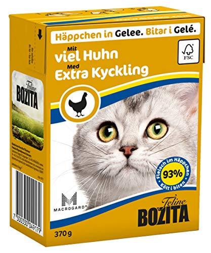 Bozita Häppchen in Gelee Nassfutter mit viel Huhn im Tetra Recart 16x370g - Getreidefrei - nachhaltig produziertes Katzenfutter für erwachsene Katzen - Alleinfuttermittel