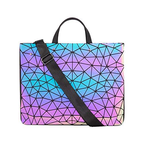 LOVEVOOK Geometrische Laptoptasche Damen, Holographic Notebook Tasche Aktentasche Schultertasche für 14 15,6 Zoll Tablet, Leichte Leuchtende Tasche für Uni Arbeit Bussiness