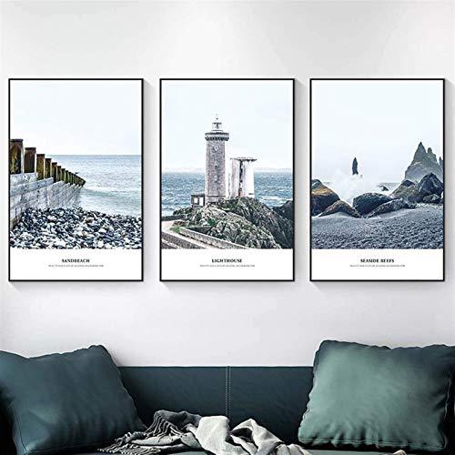 Arte cuadro de la pared moderna estira y pinturas enmarcadas Lámina Lona abstracta del paisaje marino reproducción Mar Beach cuadros en arte de la lona de la pared for el dormitorio principal Decoraci
