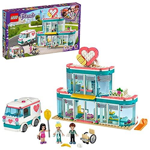 LEGO 41394 Friends Krankenhaus von Heartlake City, Spielzeug ab 6 Jahren mit Mini Puppe Emma und Krankenwagen