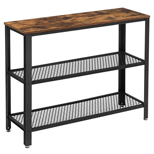 VASAGLE Industrial Console Table, Hallway Table with 2 Mesh Shelves, Side Table and Sideboard, Living Room, Corridor, 101.5 x 35 x 80 cm, Narrow, Steel, Rustic Brown and Black LNT81BX