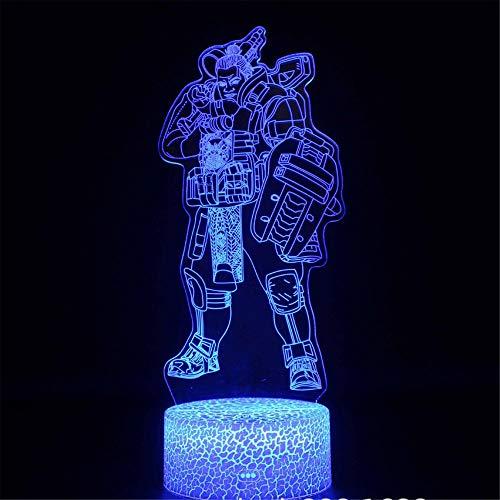 Lámpara de ilusión 3D con ilusión óptica 3D APEX Leyendas Gibraltar 16 colores, interruptor táctil automático cambiante, lámpara de decoración de escritorio, regalo de cumpleaños con mando a distancia