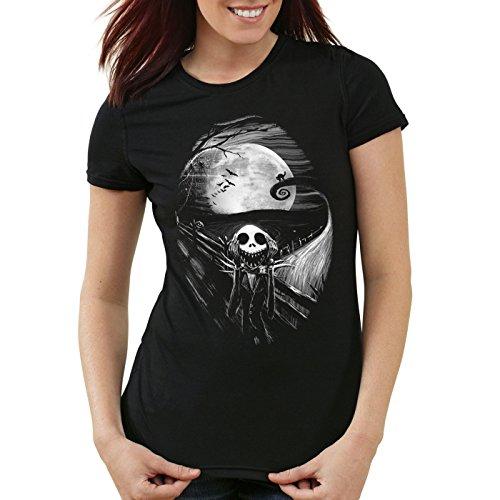 style3 Munch Nightmare Damen T-Shirt Jack Skellington schrei Christmas Before Weihnachten Edward, Größe:XL