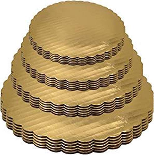 TAJNAN 4 Size Combo Cake Base 7,8,9,10 INCH 2 Piece Each Cake Base Cake Board Round Cardboard 8 Picecs Cardboard Round Cake Circle Base, Gold