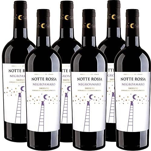 Negroamaro del Salento Igp   Notte Rossa   Vino Rosso Puglia   6 Bottiglie 75cl   Idea Regalo