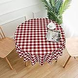 Mantel redondo de poliéster lavable de 152 cm, mantel decorativo de tela para mesa de comedor, buffet fiestas y camping, rojo y blanco