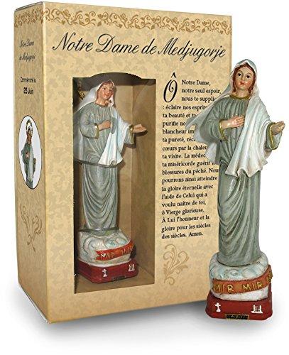 Ferrari & Arrighetti Estatua Virgen de Medjugorje de 12 cm con Caja Regalo y marcapáginas (en FRANCÉS)