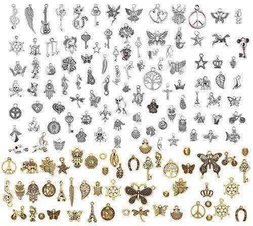 LABOTA 150 Stücke Charm Anhänger zum Schmuck Basteln Armband Halskette Ohrring Gemischte Charms, Antik Silber&Bronze