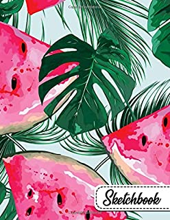 Sketchbook: Pretty Banana Leaves & Watermelon Floral Large Blank Sketchbook with Ample Crisp White Pages for Drawing, Sketching, Doodling and More. Cute Extra Large XL Notebook with a Softback Cover.