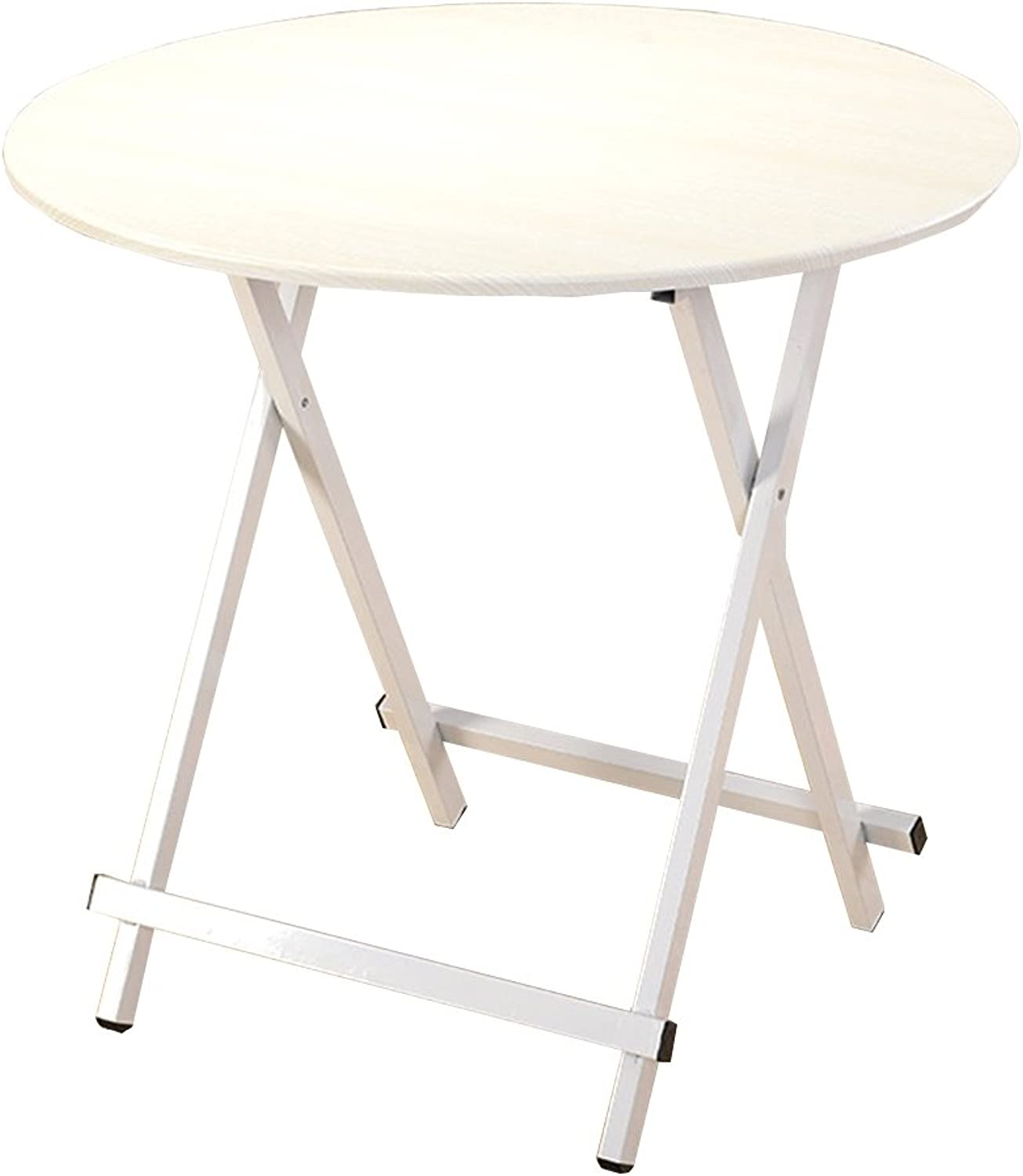 DQMSB Folding Table Small Round Table Dining Table Student Table Simple Table Writing Desk (color   White, Size   60  55cm)