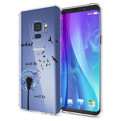 NALIA Handyhülle kompatibel mit Samsung Galaxy S9, Slim Silikon Motiv Hülle Crystal Schutzhülle Dünn Durchsichtig, Etui Handy-Tasche Back-Cover Transparent Bumper, Designs:Dandelion Blau