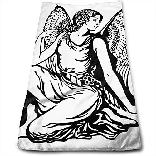 Quick Dry Luxurious Soft,Young Woman Artistic Figure with Angel Wings Monochrome Tattoo Art Design,100% Polyester Cotton Bath Towels
