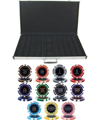 Amazing Deal 1000 Chip Eclipse Laser Clay 14gm Poker Set with Aluminum Case - Includes 3 Bonus Deale...