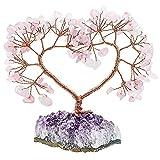 KYEYGWO Árbol de dinero con corazón de cristal de cuarzo rosa sobre amatista natural, base en bruto de piedra Feng Shui, bonsái, árbol de la suerte para bodas, decoración del hogar, curación