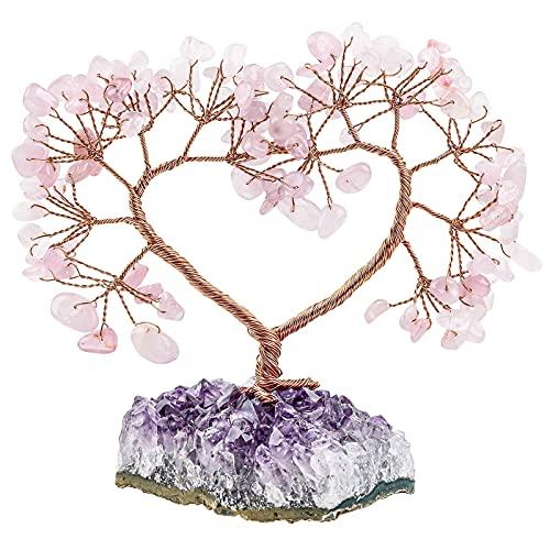 KYEYGWO Árbol de dinero con corazón de cristal de cuarzo rosa sobre amatista natural, base en bruto de piedra Feng Shui,...