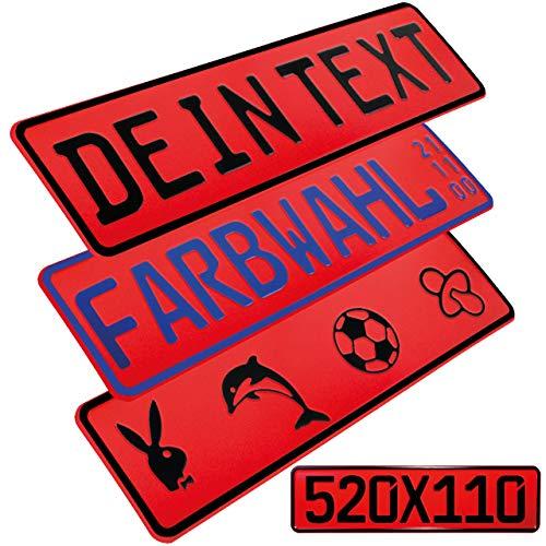 L & P Car Design FKZ 1 Stück Fun Kennzeichen 52cm x 11cm Wunschtext Bohrung Beschichtungsfarbe Individuell Wunschkennzeichen Wunschprägung Namenskennzeichen Namensschild Farbe ROT