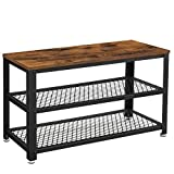 VASAGLE Shoe Bench, 3-Tier Shoe Rack, Storage Shelves with Seat, for Entryway, Living Room, Hallway, Accent Furniture, Steel Frame, Industrial Design, Rustic Brown and Black ULBS73X