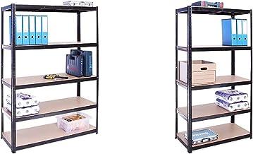 G-Rack (Noir) Rangement pour Garage, 180cm x 120cm x 45cm 5 Niveaux, Capacité de 875kg & Rangement Garage: 180 cm x 90 cm ...