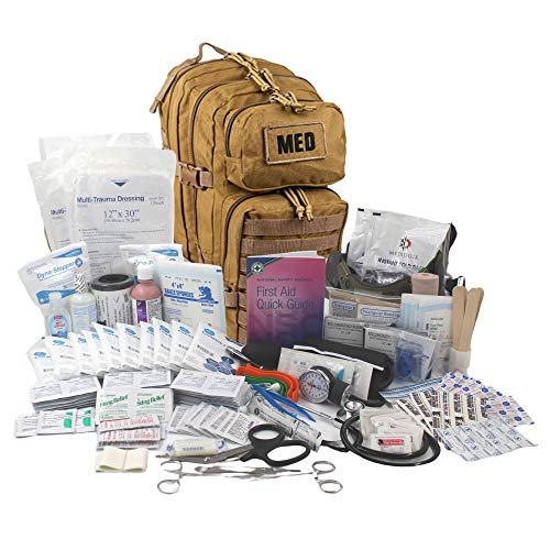 Luminary Tactical Trauma Kit Fully Stocked First Aid Kit Backpack EMS/EMT First Responder Medical Bug Out Bag for Preppers Professionals and Outdoorsman (Coyote Tan)