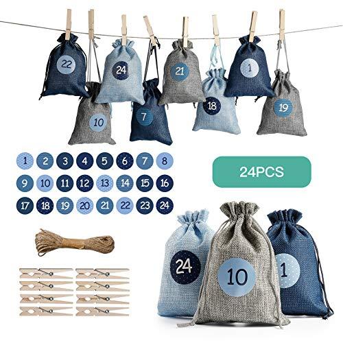 SveBake Adventskalender zum Befüllen Stoff 24 Stück - Weihnachtskalender Jutesäckchen aus Sackleinen mit Zahlen Aufkleber, 13 x 18 cm, Blau und Grau