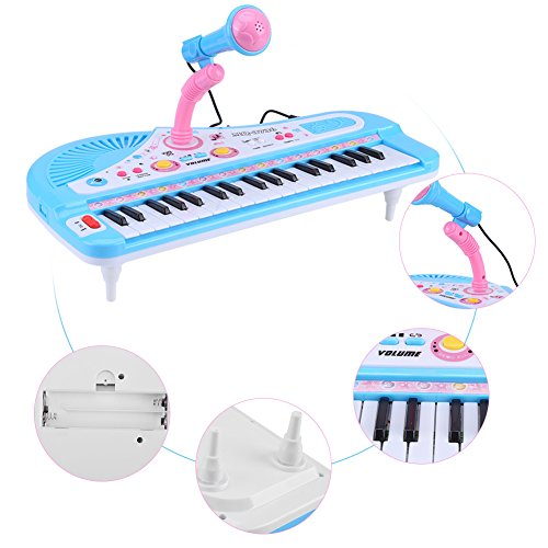Elektronische keyboard piano, 37 toetsen educatief instrument speelgoed met microfoon voor baby cadeau