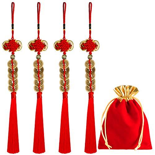 Boao 4 Stück Chinesischen Knoten Glück Münzen Feng Shui Münzen I-Ching Glück Münze für Glück und Gesund mit Aufbewahrungstaschen