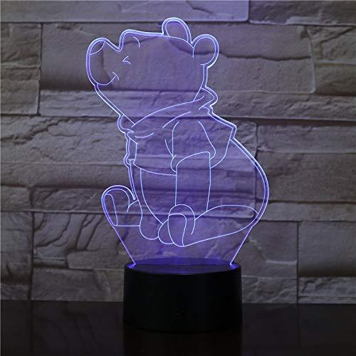 Zhuhuimin Winnie LED Veilleuse l'ourson Capteur Décor Ours 3D Lampe LED Adolescente Préférée Mr Sander USB Veilleuse De Chevet Optique