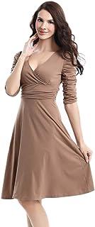 Salome Idea Women's V Neck Elegant Dress, 1/2 Sleeve Dress