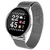 CFCF Fashion Exquisite Smart Herren Damen Armbanduhr Damen Wettervorhersage Fitness Sport Tracker Herzfrequenz Monitor Smartwatch für Android Männer Frauen Uhren Silberstahl