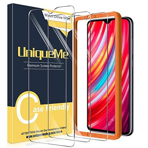 UniqueMe [3 Stück] Schutzfolie für Xiaomi Redmi Note 8 Pro Panzerglas, HD klar gehärtetes Glas Bildschirmschutz [9H Festigkeit Folie] [Anti-Fingerabdruck] Bildschirmschutzfolie
