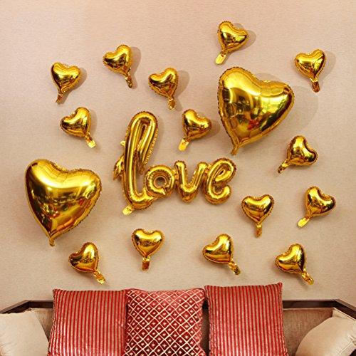 Toyvian Amor Carta Globos de Papel de Aluminio Boda Nupcial Ducha Aniversario Fiesta de Compromiso Decoración apoyos de la Foto (de Oro)
