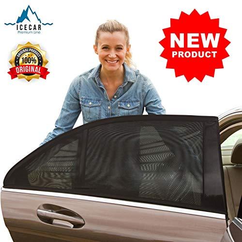 ICECAR Tendine Parasole Auto Bambini Originali - Nuovo Tessuto 130g/m² - Tessuto Premium Royal Stretch 2020 - Protezione Raggi solari UV, Insetti, Privacy - 2...