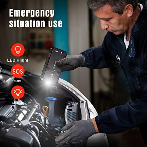 FNNEMGE Avviatore Emergenza per Auto, 2000A 21800mAh Avviatore Batteria Auto(Motori Fino a 8.0L Benzina/ 6.5L Diesell) 12V,Avviatore di Emergenza, Jump Starter,Torcia a LED con QC3.0 Porte USB