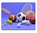 Not Applicable Alfombrilla de ratón de Goma Natural Equipo Deportivo Variado, Incluyendo una Pelota de Baloncesto Baloncesto Pelota de Tenis Béisbol Raqueta de Tenis