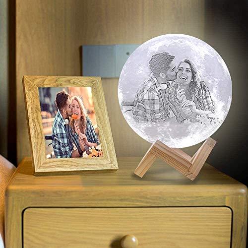 Personalisiertes Foto & Textnachtlicht 5.9 Zoll 3D dekoratives Licht mit Timer dimmbar 3 Farben Nachttischlampe, für Kinder Frauen Paare Eltern am Hochzeitstag-Gedächtnis Weihnachten