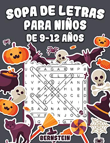 Sopa de letras para Niños de 9-12 años: 200 Sopa de letras con soluciones - Entrena la Memoria y la Lógica (edición de Halloween)