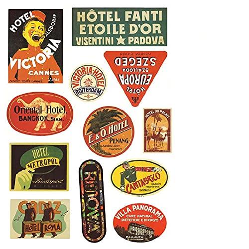 BUCUO Pegatinas de Equipaje Impermeables Retro Hotel de Viaje Pegatinas conmemorativas Estuche de embarque Contraseña Caja Trolley Case Stickers
