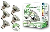 5x greenandco® CRI 90+ LED Spot ersetzt 50W GU10 in Stufen dimmbar ohne Dimmer 5W 420lm 3000K warmweiß 110° 230V, flimmerfrei, 2 Jahre Garantie
