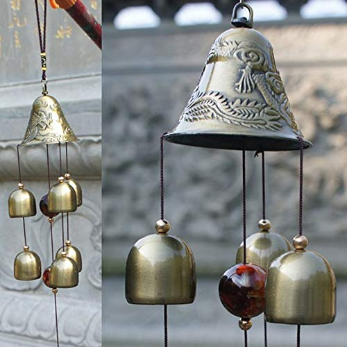 weichuang 6 campanas de cobre reloj patio jardín al aire libre vivo campanillas decoración del hogar