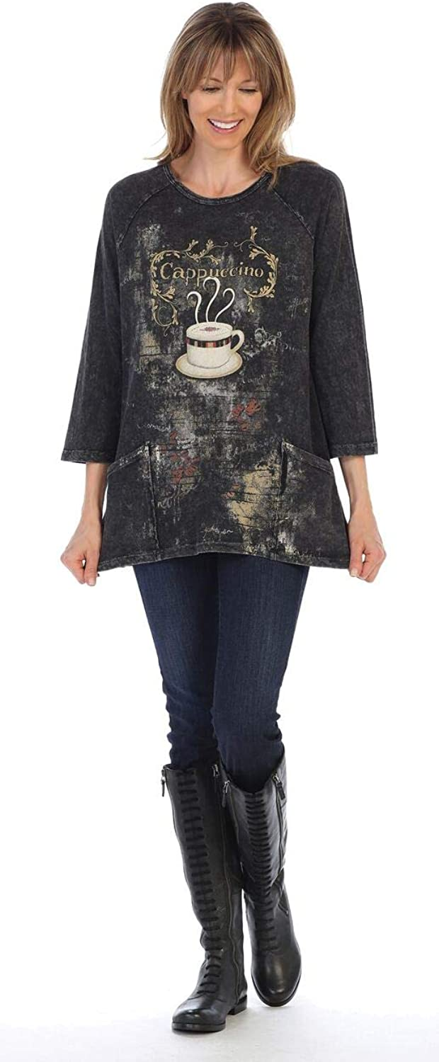 Jess & Jane Women's Cappuccino Mineral Washed Patch Pocket Cotton Tunic