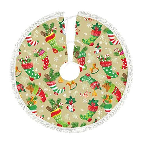 Xuanwuyi Weihnachtsbaum-Rock mit Weihnachtsblumen, Teppich, Weihnachtsfest, Party-Dekorationen für drinnen und draußen, Neujahr, kurz, Plüsch, weiß, 122 x 122 cm