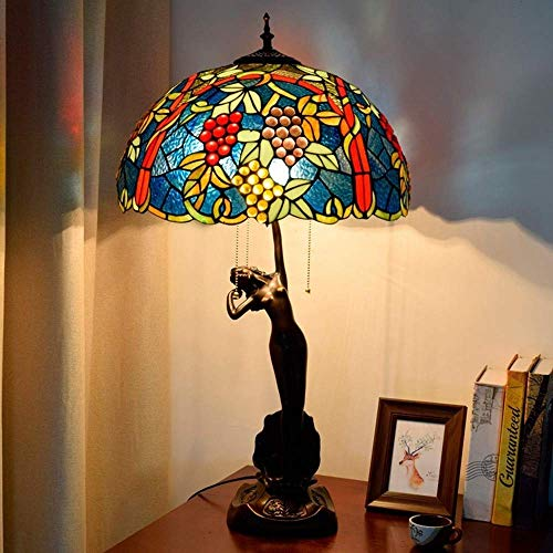 KELITINAus Grape Design Table Lamp Stained Glass Lampshade Resin Base Villa Living Room Bedroom Decorative Desk Lamps Handmade Style Bedside Lamp,E27