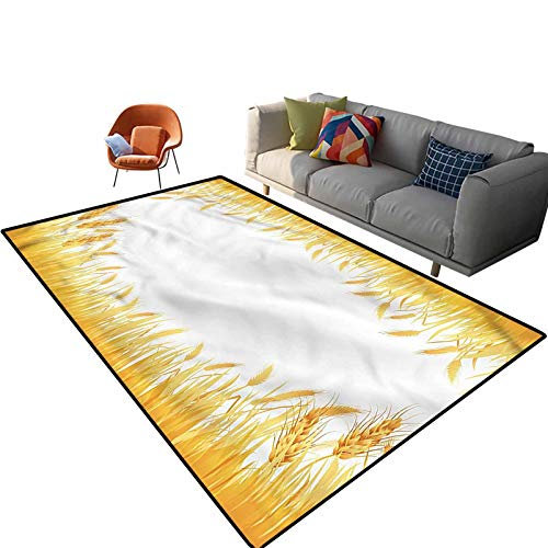 Indoor Room Harvest Area Rugs,3'x 5',Crop Rice Field Frame Floor Rectangle Rug with Non Slip Backing for Entryway Living Room Bedroom Kids Nursery Sofa Home Decor