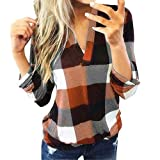 MURTIAL Women Long Sleeve Flannel Plaid Shirt Pullover Sexy V Neck Tops Casual Loose Boyfriend Tunic T Shirts Blouses(Orange,14)