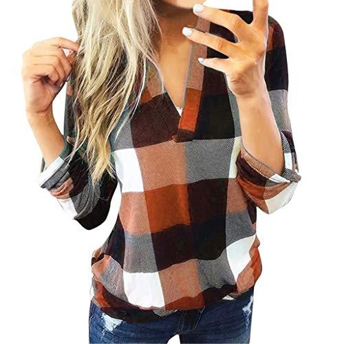 Xmiral Bluse Damen Kariertes Shirt Slim Fit V-Ausschnitt Rollbare Ärmel Tops Sweatshirts Langarm Jacke Stehkragen Hemd Pullover(Orange,S)